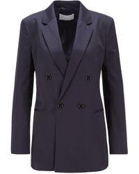 BOSS by HUGO BOSS Regular-fit Jacket In Organic-cotton Stretch Satin - Blue