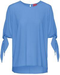 HUGO Top Van Deels Gerecycled Stretchmateriaal Met Strikmouwen - Blauw