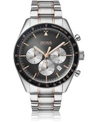 BOSS - Stainless-steel Chronograph Watch With Rose-gold Accents - Lyst