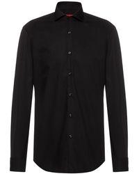 HUGO Slim-fit Overhemd Van Katoen Met Extra Lange Mouwen - Zwart