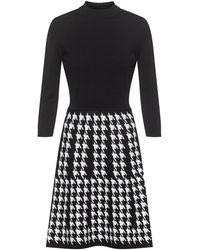 HUGO Mock-neck Knitted Dress With Houndstooth Skirt - Black