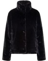 HUGO Regular-fit Cropped Jacket In Faux Fur - Black