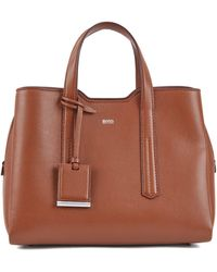 d592714e0ff1 BOSS - Tote Bag In Softly Structured Grainy Italian Leather - Lyst