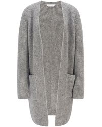 BOSS by HUGO BOSS Relaxed-fit Long Cardigan With Edge-to-edge Front - Metallic