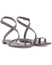 BOSS by Hugo Boss - Flat Strappy Sandals In Italian Leather With Squared Toe - Lyst