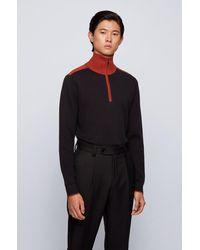 BOSS by HUGO BOSS Pull à encolure zippée contrastante, en coton et laine vierge - Noir