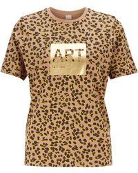 BOSS Leopard-print T-shirt In Supima Cotton With Foil Artwork - Multicolour