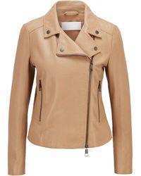BOSS by HUGO BOSS Biker-style Leather Jacket In Olivenleder® - Natural