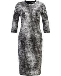BOSS Regular-fit Irregular-check Dress In Italian Fabric - Multicolour