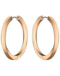BOSS by HUGO BOSS Twisted-bar Hoop Earrings In A Carnation-gold Finish - Metallic