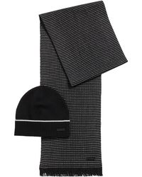 BOSS by HUGO BOSS Écharpe et bonnet en laine vierge avec badge logo - Noir