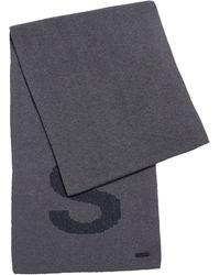 BOSS by HUGO BOSS Schal aus Baumwoll-Mix mit Logo-Struktur - Grau
