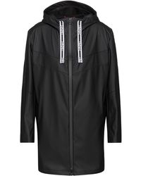 HUGO Water-repellent Hooded Raincoat With Logo Drawcords - Black