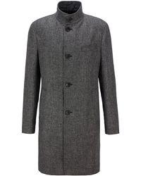 BOSS by HUGO BOSS Slim-Fit Mantel aus meliertem Garn mit Stehkragen - Grau