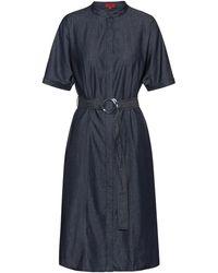 HUGO Stand-collar Shirt Dress In Italian Denim - Blue