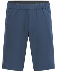 BOSS by HUGO BOSS Water-repellent Relaxed-fit Shorts With Logo-elastic Waistband - Blue