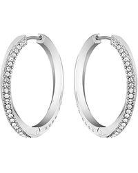 BOSS by HUGO BOSS Twisted-bar Hoop Earrings With Swarovski® Crystals - Metallic
