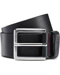 HUGO Grainy Embossed-leather Belt With Brushed Metal Hardware - Black