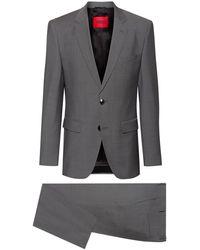 HUGO Regular-fit Suit In Micro-patterned Tropical Wool - Grey