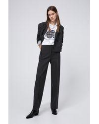 HUGO Pantalones regular fit en tejido elástico a rayas - Negro