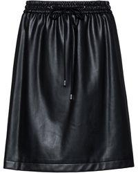 HUGO Faux-leather Mini Skirt With Drawstring Waist - Black