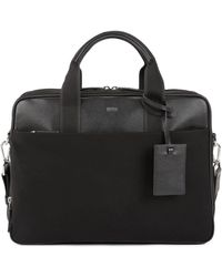 BOSS Double Document Case With Trims In Italian Leather - Black