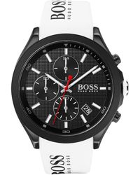 BOSS Black-plated Chronograph Watch With White Logo Strap