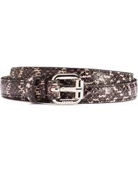 HUGO Snakeskin-effect Belt In Calf Leather - Brown