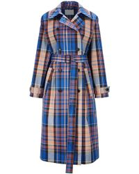 BOSS Plaid Trench Coat - Blue
