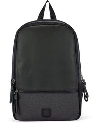 BOSS by HUGO BOSS Double-compartment Backpack In Faux Leather With Logo Patch - Black
