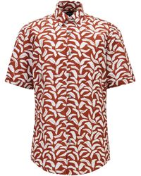 BOSS by HUGO BOSS Regular-fit Overhemd Van Katoen En Linnen Met Bladprint - Rood