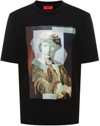 HUGO Relaxed-fit Cotton T-shirt With Abstract Statue Artwork - Black