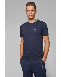 BOSS by Hugo Boss T-shirt en jersey de coton à logo incurvé - Bleu