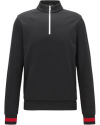 BOSS - Zip-neck Sweatshirt In A Technical Fabric With Contrast Details - Lyst