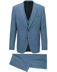 BOSS by Hugo Boss Slim Fit Three Piece Suit In Wool And Silk - Blue