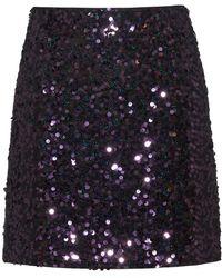 HUGO Slim-fit Sequinned Mini Skirt With Concealed Zip - Purple