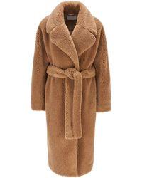 BOSS by HUGO BOSS Oversized-fit Mantel Van Teddy Met Strikceintuur - Bruin