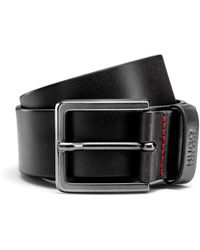 HUGO Leather Belt With Matte Gunmetal Hardware - Black