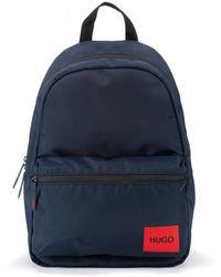 HUGO Sac à dos en nylon recyclé avec étiquette logo rouge - Bleu