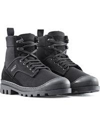 HUGO Boots à lacets en cuir suédé et toile de coton - Noir