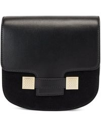BOSS by Hugo Boss Saddle Bag In Leather And Suede With Monogram Hardware - Black