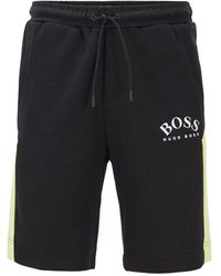 BOSS Slim-fit Shorts With Contrast Details And Curved Logo - Black