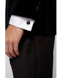 BOSS by HUGO BOSS Konische Manschettenknöpfe aus Messing mit gemustertem Emaille-Einsatz - Schwarz