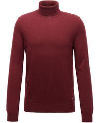 BOSS by HUGO BOSS Jersey de cuello vuelto en ligero cashmere italiano - Rojo