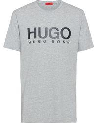 HUGO Regular-fit T-shirt Van Zuivere Katoen Met Logoprint - Grijs