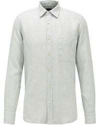 BOSS by HUGO BOSS Camisa regular fit de lino con ribetes de estampado de jirafa - Metálico