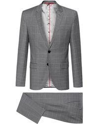 HUGO Extra-slim-fit Virgin-wool Suit With Dégradé Check - Grey