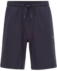 BOSS by Hugo Boss Loungewear Shorts In Stretch Cotton With Logo Embroidery - Blue
