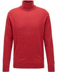 BOSS by HUGO BOSS Jersey con cuello híbrido en lana virgen italiana - Rojo