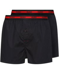 HUGO Lot de deux boxers en coton avec taille à logo - Noir